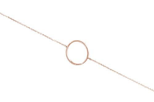 Pulsera de círculo simple de oro, Pulsera de oro 9K 14K 18K, Oro rosa, Oro macizo, Cadena ajustable, Joyería geométrica, Regalo para mujer/code: 0.002