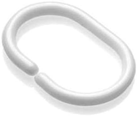 12 PCS White Shower Curtain Rings Shower Hooks Pack Of 12 C Shape