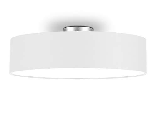 Runde Zeitlose Deckenleuchte mit Stoffschirm in Weiß Ø 50cm - satinierte Abdeckung für blendfreies Lichtambiente