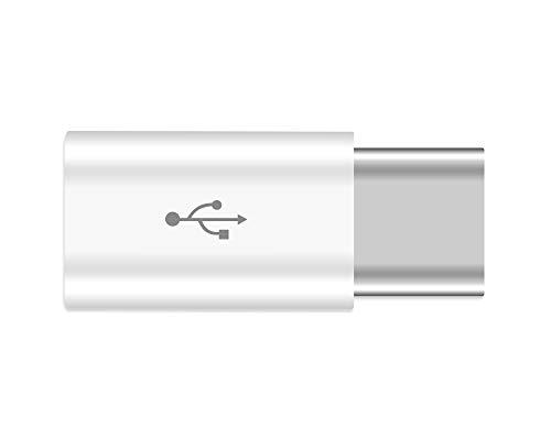 JBSTK USB-C auf Micro USB Adapter [ 5 Stücke ] USB Type C Adapter Konverter 56K Widerstand für Samsung Galaxy S9 S8 Note 8 MacBook (2015), ChromeBook Pixel, Nexus 5X / 6P, Nokia N1(Weiss)