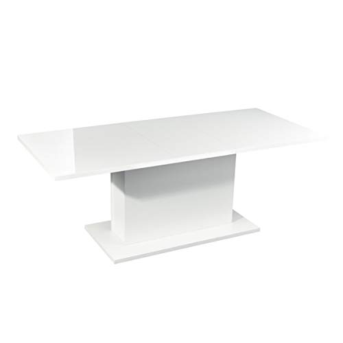 Furniturer INC Extension Dining Table Modern High Gloss White Top Rectangular Dining Table Multifunction Space Saving Wooden Table