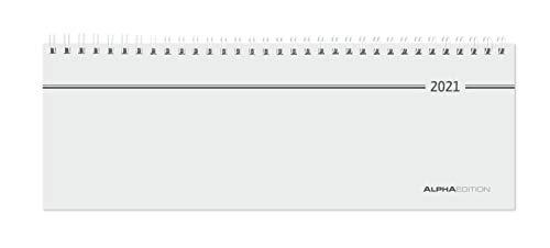 Tisch-Querkalender 2021 - Büro-Planer 28,5x10 cm - Tisch-Kalender - 1 Woche 1 Seite - Ringbindung - Alpha Edition