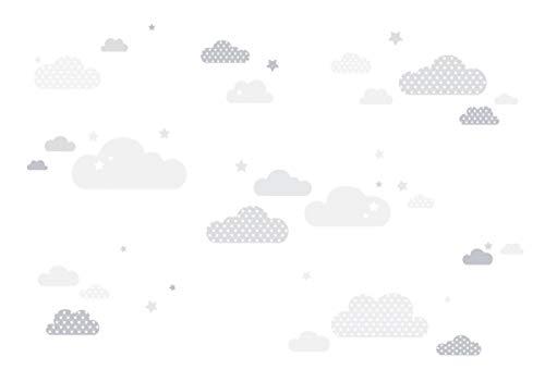lovely label Wandsticker selbstklebend WOLKEN GRAU/WEISS - Wandaufkleber Kinderzimmer/Babyzimmer mit Wolken und Sternen - Wandtattoo Schlafzimmer Mädchen & Junge, Wanddeko Baby/Kinder