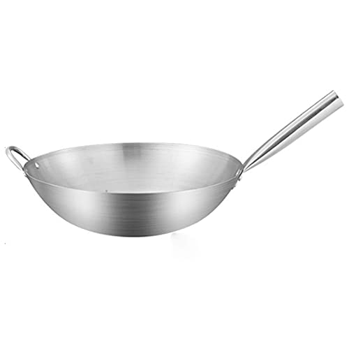 wsetrtg 14 inch Stainless Steel Multifunction Wok Pan Round Bottom Wok with Ears Omelette Pan Uncoated Kitchen Cooking Pan General Gas Stove (Color: 36cm)