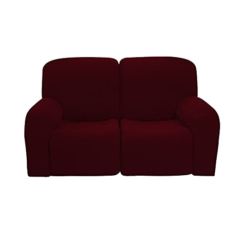 ELYSYSRL Waterproof Stretch Recliner Slipcover, 6-Pieces Soft Recliner Slipcover Non Slip Sofa Slipcover With Side Pockets Furniture Protector For Dog Cat, Washable-Wine red