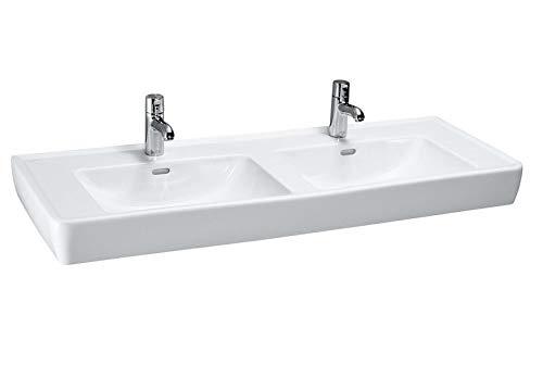 Laufen PRO A Doppelwaschtisch, ohne Hahnloch, mit Überlauf, 1300x480, weiß, Farbe: Weiß mit LCC