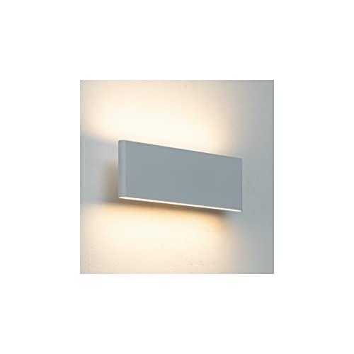 KOSILUM - Applique murale LED blanche en aluminium brossé - Cruise - Lumière Blanc Chaud Eclairage Salon Chambre Cuisine Couloir - 12W - 1100 Lm - LED intégrée - IP20