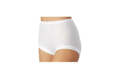 5 Stück Taillenslip Damen Slip Unterwäsche Unterhose NELLY 100% Baumwolle TAILLENSLIP mit tiefem Beinausschnitt Farbe weiß Größen 38-52, Weiß, 46