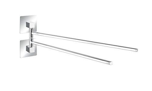 Wenko Turbo-Loc® - Toallero de Acero Inoxidable, 2 Brazos, Quadro, fijación sin Agujeros, Acero Inoxidable, 6,5 x 14,5 x 40 cm, Cromado