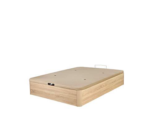 DHOME Canape Abatible Tapizado 3D Cambrian con Apertura Normal o Lateral Esquinas Macizas de Haya canapé Madera Roble (135x200 22mm)
