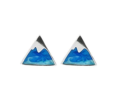Pendiente de plata de ley 925 con forma de triángulo de montaña de hielo azul y hermoso regalo para mujer