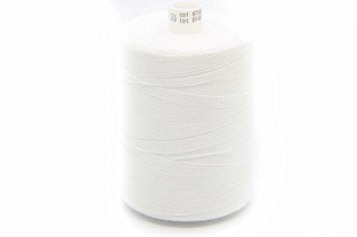 Costuras NTS 1000m Hilo, Jeans Hilo 30, selección de Colores, Costura y Decorativas Hilos para Telas Pesadas, Blanco