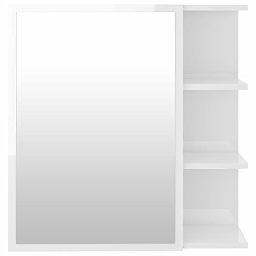 Ksodgun Armario con Espejo de Montaje en Pared, Almacenamiento en el baño, Estante de 3 Niveles con 2 Compartimentos Interiores, Blanco de Alto Brillo 62,5x20,5x64 cm