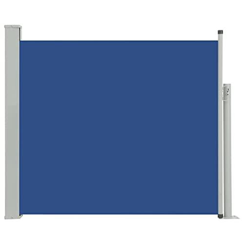 vidaXL Toldo Lateral Retráctil para Patio Pantalla de Terraza Mampara Parasol de Exterior Jardín Tela de Lona PU Azul Soporte de Hierro 100x300 cm