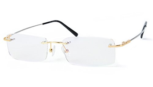 Agstum Blue Light Blocking Glasses - Flexible Rimless Titanium Alloy Eyeglasses Frames Clear Lens