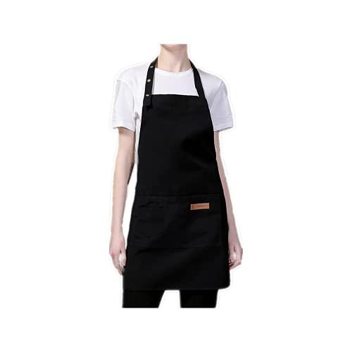 Maduoer Delantal de chef ajustable, delantal de cocina, utilizado para barbacoa, jardinería, restaurante, barbacoa, adecuado tanto para hombres como para mujeres (negro )