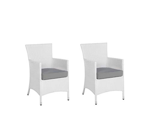 Beliani Modern Outdoor Garden Ding Chairs Set of 2 White Faux Rattan Grey Cushion Italy