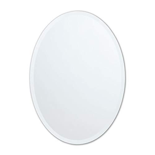 Small Frameless Beveled Oval Wall Mirror | Bathroom, Vanity, Bedroom Mirror |...