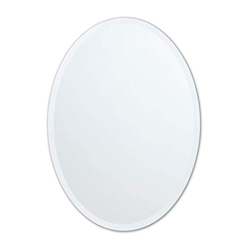 Small Frameless Beveled Oval Wall Mirror | Bathroom, Vanity, Bedroom Mirror | 20-inch x 27-inch