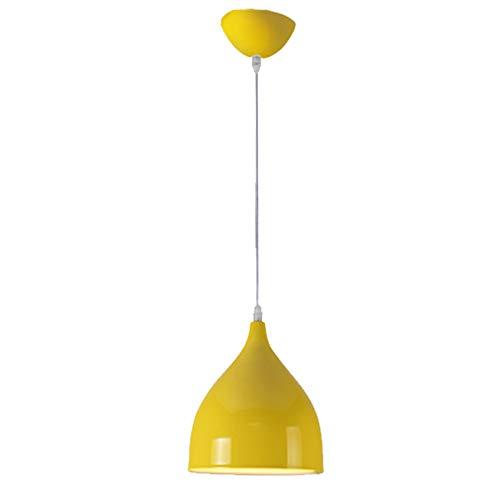 Moderna Industrial Lámpara Colgante - E27/E26 Vintage Luz Colgante Iluminación Decorativa, Retro Lámpara de Techo de Aluminio (Amarillo)