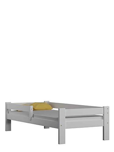 Children's Beds Home Letto Singolo in Legno massello - Salice Senza cassetti Senza Materasso Incluso (140x70, Bianco)