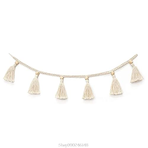 QASUF Nordic Cotton Rope Wooden Bead Garland And Tassel Wall Hanging Nursery Decorations Children's Nursery Decoration Pendant (Color : A)