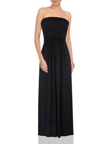 GRACE KARIN Women's Strapless Pleated Dress Beach Maxi Dress Size L Black