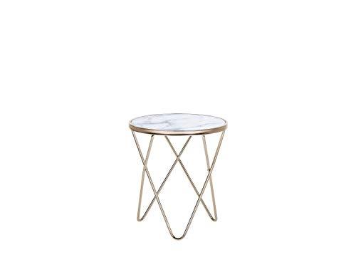 Edler Beistelltisch rund Glas Marmor Optik/Gold Meridian II