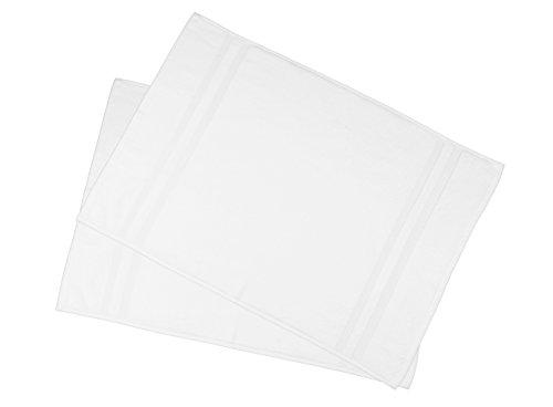ZOLLNER 2 alfombras de baño Blancas, 50x75 cm, 100% algodón