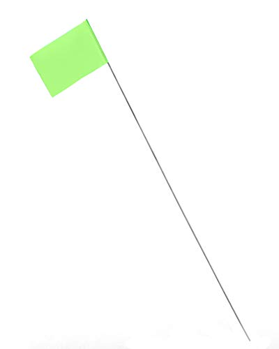 AdirPro 2''x3'' Stake Flags - 100 Pack Pet Boundary Flag -Marking Pennant - Durable Reusable Flag Stakes for Easy Identification Perfect for Surveying Safety Marking and Other Industrial Use ( Lime)