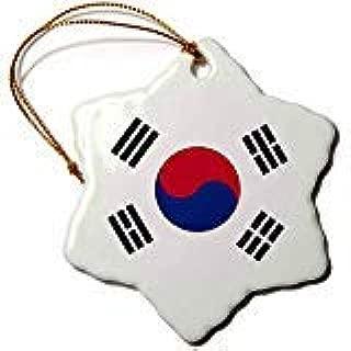 Ditooms Flag of South Korea-Korean White Red Blue Taegeuk Circle Black Trigrams-Snowflake Ornament, Porcelain, 3-Inch
