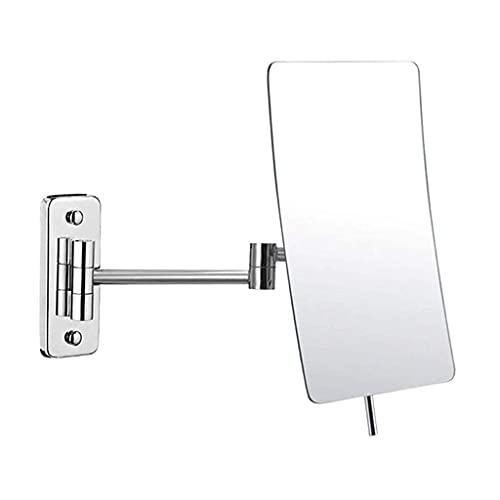 QHHALXZ Estilo de granja moderno luz de lujo metal pared de, espejo de baño espejo de afeitar maquillaje montado en la pared 3X aumento 360° giratorio extensible plegable para hotel vanidad cromo