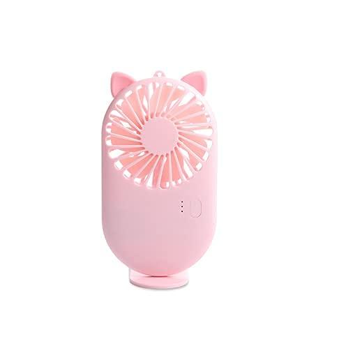 QIXIAOCYB USB Small Fan Mini Pocket Handheld Student Recargable Portátil Dormitorio Dormitorio Bed Pequeño Ventilador eléctrico (Color : Pink Cat)