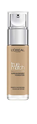 L'Oreal Paris True Match Liquid Foundation, Skincare Infused with Hyaluronic Acid, SPF 17, Available in 40 Shades, 3W Golden Beige, 30 ml