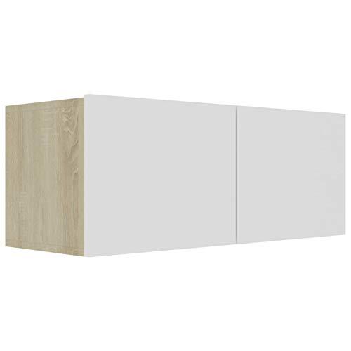 Tidyard Mesa para TV Diseño Moderno Aparador para TV Mueble TV Salón Mesa Televisión Mueble Comedor Televisor Mueble para TV aglomerado Blanco y Roble Sonoma 80x30x30 cm