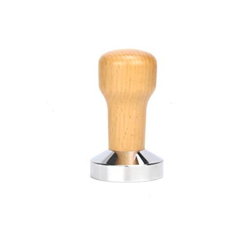 CCHAO 51mm / 53mm / mm / 58mm Edelstahl Kaffee Tamper Faden Boden Massivholz Griff Pulver Hammer Flat Ripler Tamper 2 Farbe (Color : B51mm)