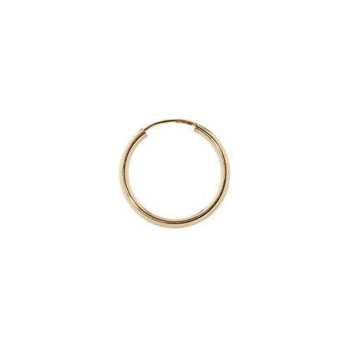 NKlaus Einzel 585er 14 Karat Gold gelbgold Creole 15mm Ohrring 1,8mm Stärke Ohrschmuck rund 2568