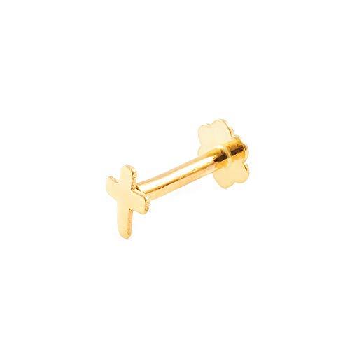 Piercing voor kraakbeen kruis 4 mm - geel goud 9 karaat (375)