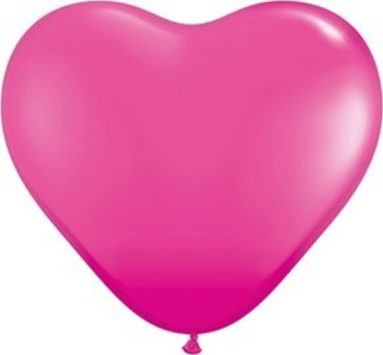 Wild Berry Pink 6 Latex Hearts Qualatex Balloons x 25 by Qualatex