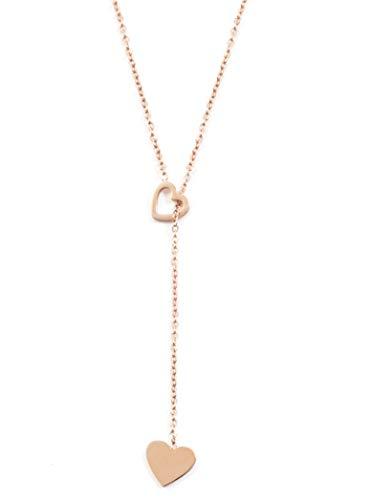 Happiness Boutique Collana Y con Cuori Pendenti in Oro Rosa   Delicata Collana Lariat Acciaio Inossidabile
