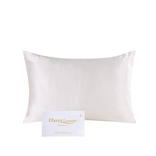 Ethlomoer Kissenbezug aus 100% natürlicher Reiner Seide für Haar und Haut, beidseitig 19 Momme, 600 Fadenzahl, Design mit verstecktem Reißverschluss, 1 Stück 40x80cm Elfenbein