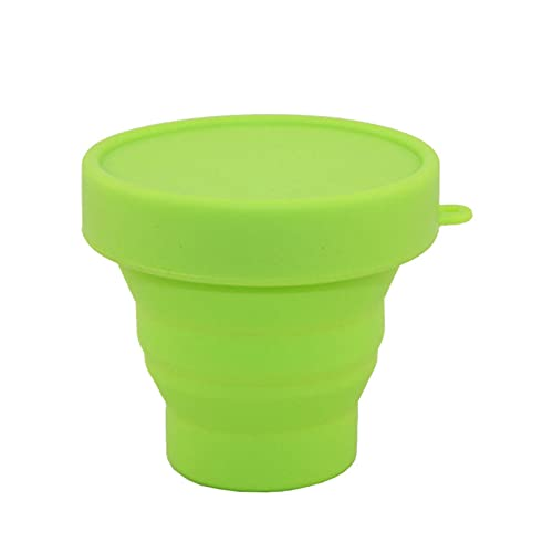 HLJS Pack of 3 Camping Folding Cup Silicone Foldable Drinking Cup Collapsible Water Bowl Foldable Travel Mug with Lid Silicone Travel Cup for Outdoor Activities 101 200 ml Green