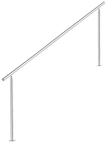 Treppengeländer Edelstahl Handlauf Geländer Balkongeländer Aufmontage Treppe, Länge:160 cm;Anzahl Streben:0
