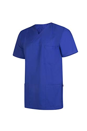 Clinotest Camiseta de manga corta unisex con cuello plisado y cuello desplegable, 2 tallas diferentes Color azul. Large