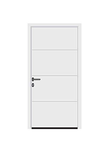 Aluminium Garagen Nebentür - L-Sicke - Dämmung - Ansichtsgleich zu Sektionaltoren (bis 1330 x 2558 mm, Anthrazit metallic Matt deluxe CH 703)