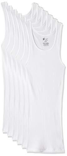 Hanes Men's ComfortSoft Moisture Wicking Tagless Tank Undershirts-Multipacks, White 6-Pack, Medium