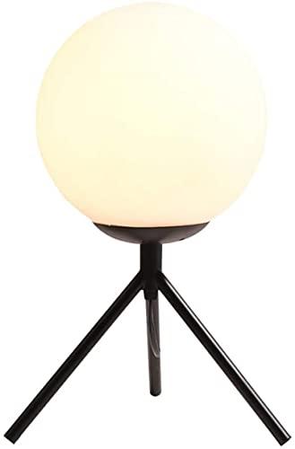 Minimalista Minimalista Lámpara de mesa negra Trípode Escritorio Ligero Milky Milky Blanco Vidrio redondo Lámpara de cristal Minimalista Decoración