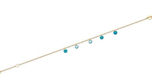 Tata Gisèle - Pulsera chapada en oro de 18 quilates con cuentas de óxido de circonio azul – Bolsa de terciopelo de regalo