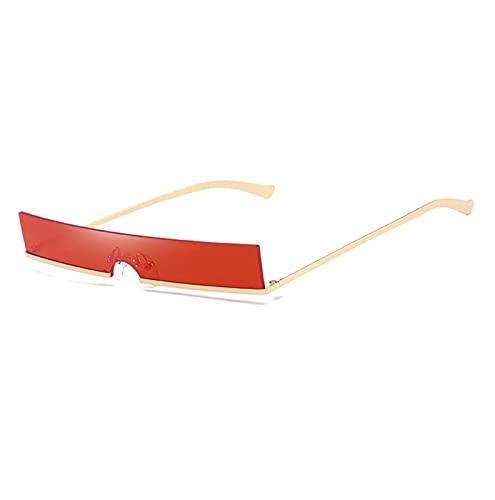 FDNFG Mujeres Moda Gafas de Sol Designer de Lujo Clear Rectangle Lente Personalidad Gafas de Sol Trasas Mujer Eyewear UV400 Gafas de Sol (Lenses Color : Golden and Red)