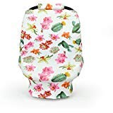 Carseat Canopy - Includes 2 Car Seat Strap Covers - Cactus Breastfeeding Cover, Shopping Cart Cover, Baby Car Seat Cover, Baby Carseat Covers